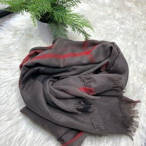 Taupe Plaid Scarf with Fringe